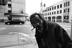 Mission Street (Corner of 5th and Mission) - San Francisco, CA (Rex Mandel) Tags: homeless streetperson missionstreet street streetphotography blackandwhite bw monochrome southofmarket soma sanfrancisco sf sidewalk