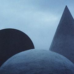 a square composition of geometric stone shapes (rob kraay) Tags: artworkofstone coneshape robkraay ballshape monochrome cilindershape