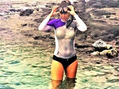 Kahaluʻu beach park (thomasgorman1) Tags: snorkeling water island beach hawaii woman swimwear fujifilm candid travel shore lavarock kahaluu kona coast