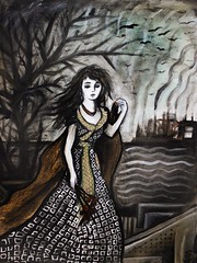 The Wanderer (Skyler Brown Art) Tags: acrylic angst art artwork canvas charcoal clothing dark depressing drawing dress fashion female flower flowers girl industrial industry nature ominous paint painting pen people plants sad smoke technology tree trees weather woman