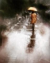 the rhythm of a rainy day . . . (YvonneRaulston) Tags: australia sydney emotive moody mood girl woman lady umbrella impressionist texture shower wet rain