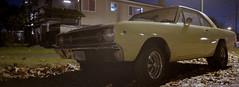 Dodge Dart (Orion Alexis) Tags: film 35mm analog panorama widescreen cinematic dodge dart classic car night evening fujifilm tx1 xpan venus 800 vancouver urban street auto