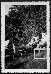 Archiv S499 Gartengenuß, 1950er (Hans-Michael Tappen) Tags: archivhansmichaeltappen garten liegestuhl frau barfus barefoot fotorahmen outdoor vegetation ddrzeit ostalgie 1950s 1950er