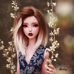 Branches 🌱 (pure_embers) Tags: pure embers bjd sd 13 doll dolls uk cerisedolls lillycat ellana plum girl hailey pureembers embershailey photography photo ball joint pink tan resin culur faceup portrait bjdarthouse alpaca wig ombre irunio romper flowers branches