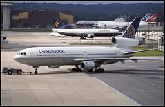 N13067 - London Gatwick (LGW) 25.07.1993 (Jakob_DK) Tags: dc10 dc1030 douglas mcdonnelldouglas mcdonnelldouglasdc10 mcdonnelldouglasdc1030 egkk lgw gatwick londongatwick gatwickairport londongatwickairport coa continental continentalairlines 1993 n13067