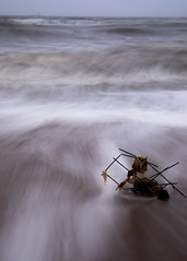 Rubbish (PeskyMesky) Tags: aberdeen bridgeofdon aberdeenbeach water landscape longexposure scotland sea ocean sand movement blue canon canon5d eos
