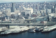 Aerial of Alaskan Way Viaduct and waterfront, 1973 (Seattle Municipal Archives) Tags: seattlemunicipalarchives seattle highway99 alaskanwayviaduct waterfronts piers seattlewaterfront downtownseattle 1970s