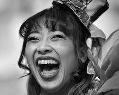 Ureshii (gro57074@bigpond.net.au) Tags: ureshii performer performance delighted happy face portrait monotone monochrome mono blackwhite bw shinjuku robotrestaurant japanese japan f14 105mmf14 artseries sigma d850 nikon 2019 february guyclift