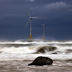 Storm Erik (PeskyMesky) Tags: stormerik aberdeen aberdeenshire blackdog blackdogbeach beach water wave windfarm windgenerator weather longexposure scotland sky canon canon5d eos