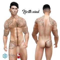 "male tattoo ""North wind""  Signature Belleza Slink appliers (revolver_tattoo) Tags: signature belleza slink tattoo secondlife art appliers gianni geralt catwa bento revolver"