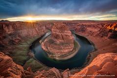 That Famous Bend (David Swindler (ActionPhotoTours.com)) Tags: arizona horseshoebend page southwest bend clouds horseshoe sunburst sunset