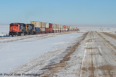 The Perks of Perks (Going Trackside Photography) Tags: canadian national railway canada alberta intermodal freight mixed train cnr cn rail railroad snow winter blue sky