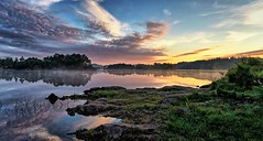 Tuastadvatnet, Norway (Vest der ute) Tags: g7x norway rogaland røyksund grass landscape water waterscape lake reflections sunrise rocks trees earlymorning summer clouds sky fav25 fav200