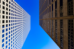 Republic Plaza and 410 17th St. - Denver, Colorado (BeerAndLoathing) Tags: 2018 autumn usa denver doorsopendenver abstract city canon fall september downtowndenver 77d skyscrapers colorado refelections geometry canoneos77d downtown architechture contrast buildings symmetry