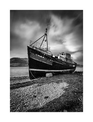 The Boat (Ade G) Tags: bw landscape transport weather boat clouds coast lakes loch longexposure mist rain seascape