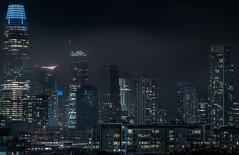 dark, misty city (pbo31) Tags: bayarea california nikon d810 color march 2019 boury pbo31 night dark black sanfrancisco city urban potrerohill skyline over fog marinelayer mist salesforce