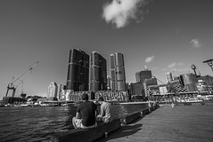 DSC01528 (Damir Govorcin Photography) Tags: pyrmont sydney cbd blackwhite monochrome buildings architecture wide angle composition sony a7rii zeiss 1635mm people sky clouds