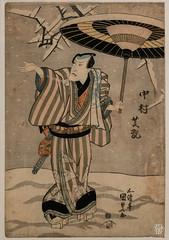 L'acteur Nakumara Shikan II dans la Visite de fleurs de prunier (Yoko Umeni). (sylvain.collet) Tags: france peinture asiatique art japon homme asie hiver parapluie lesnabis kimono acteur neige