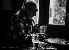 Man, cards, Beer! (deltic17) Tags: man cards beer ale pint blackwhite monochrome burton devonshire shuffle cardgame boozer deck old pub photography real reallife shadow light shade