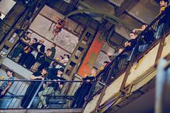 Besucher auf der Treppe. Beer Pong Vienna 2019
