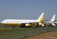 Brunei Government A340-200 V8-001 (birrlad) Tags: tarbes lourdes lde airport france aircraft aviation airplane airplanes airline airliner airlines parked taxiway storage stored airbus a340 a342 a340200 a340212 brunei government state jet retired v8001