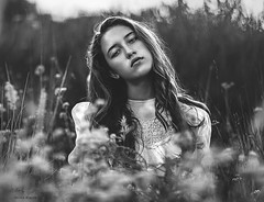 Lauren in B&W ({jessica drossin}) Tags: jessicadrossin woman face portrait flowers lace hair freckles eyes wwwjessicadrossincom