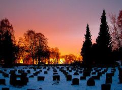 Sunset over Graveyard (bjorbrei) Tags: graveyard churchyard cemetery graves tombstones snow trees winter sunset dusk evening sky grefsen oslo norway