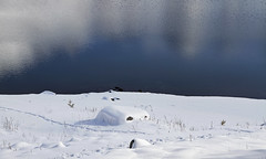 Il est passé par ici (Emmanuelle2Aime2Ailes) Tags: paysage neige lac montagne reflets lacdallos bluewithwhiteweekend