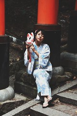 We all wear masks. (kryosata) Tags: japan kyoto girl kimono yukata flowers mask fox temple shrine gate model red blue