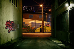Off the Beaten Path (scottyofeden) Tags: cityscape moody dark alley downtown fortworth texas graffiti wallart nightphotography streetphotography streetsoffortworth nightlife creativelife