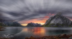 Lofoten: the final show (marko.erman) Tags: lofoten norway nordland reine sea mountains water clouds beautiful sony scenic idyllic nature outdoor outside travel popular quiet serenity pure transparency landscape nordic steep sunny montagne ciel paysage eau mer reflections hamnøy dusk sunset magiclight