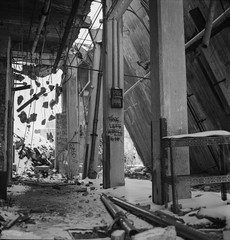 Albion (February 15, 2019) (robbiemaynardcreates) Tags: albion paper mill holyoke massachusetts abandoned snow storm water street decay urbex black white photography yashica mat 124g ilford hp5 400 home developing film 120 lost urban exploring exploration