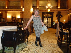 Feel The Power Of Being A Nicely Dressed Woman In Public (Laurette Victoria) Tags: hotel lobby milwaukee pfisterhotel laurette woman boots dress animalprint
