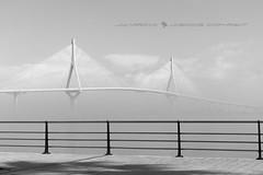 BALCÓN AL PUENTE (José Mª Arroyo) Tags: jabkdos jmarroyo jab josémªarroyo cádiz bahíadecádiz mar bw puentedelapepa puentedelaconstitución puente