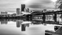 Downtown Pittsburgh and Allegheny river (Piotr_PopUp) Tags: pittsburgh allegheny downtown pennsylvania pa city cityscape bridge river urban blackandwhite blackwhite bw bnw monochrome mono longexposure slowshutter greyfilter reflection winter us usa unitedstates