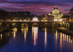 St Peter's Basilica Rome (seantindale) Tags: stpeters basilica rome italy europe travel river sunset bridge olympus omdem1markii