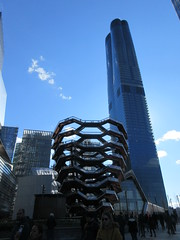 Visiting The Vessel Sculpture at Hudson Yards 4153 (Brechtbug) Tags: 2019 march visiting the vessel sculpture hudson yards tower near 34th street midtown manhattan new york city nyc 03172019 west side construction center cityscape architecture urban landscape scape view cityview shadow silhouette december close up skyline skyscraper railroad rail yard train amtrak tracks below grown stair stairs buildings above staircase dingus nypd mini squad cars tiny