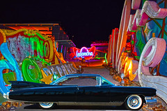 Pack Rat (oybay©) Tags: cadillac eldorado caddy car automobile lasvegas stardust uglyduckling neonmuseum color colors moulinrouge inlove las vegas neon museum la concha moulin rouge shell architecture blue hour red modern design boulevard clark county nevada usa united states america boneyard duck sign star dust night road