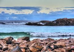 Cloudy day at the seaside VI (elphweb) Tags: hdr highdynamicrange nsw australia waves wave sea ocean bay water rocks rocky rock rockformation cloudy sky skies