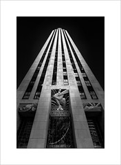 Top of the Rock building. (tkimages2011) Tags: topoftherock rockefeller plaza manhattan ny newyork building architecture skyscraper lines vertical convergingverticals geometric windows stone arty contemporary