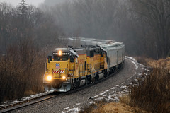 UPY 653 (Western WI Rail Images) Tags: up union pacific snow water trees train grass rocks tracks gp15 emd upy rain