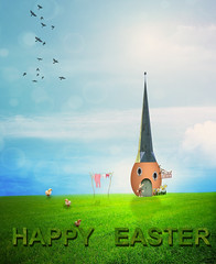 The Easter House (Cat Girl 007) Tags: artwork concept creative dream easter egg fantasy holiday house spring surreal surrealism text mmmeasterchallenge whimsical