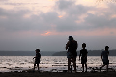 Settings (Mikey Down Under) Tags: children clouds coast family kids lake lakeside nsw photo photographer shoreline silhouette south stgeorgesbasin sunset tripod woman