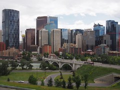 View of Centre St. Bridge leading to downtown Calgary (procrast8) Tags: calgary ab alberta canada rotary park bow suncor energy centre street bridge river tower transcanada city building brookfield place east west jamieson
