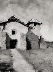 San Jose Catholic Church, Colonias, New Mexico. Painterly grisaille. (Richard Denney) Tags: sanjose catholic church mission newmexico ruins painterly grisaille remote colonias blackandwhite monochrome