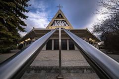 perspective meets church (Rafael Zenon Wagner) Tags: perspektive pov 12mm laowa12mmf28zerod kirche church metall metal sky himmel clouds wolken