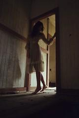 Dagney Doorway (SkylerBrown) Tags: dagneyhollmann abandoned abandonedhouse creepy dark dress farmhouse fashion female girl gothic haunting model shadows spooky whitedress woman