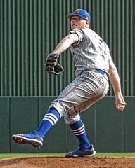 Starting Pitcher (CODA: MARINE 475) Tags: baseball csu calstatebakersfield college uniform cap socks spikes cleats glove stripes pinstripes blue athlete sports action pitcher