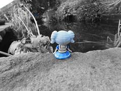 Loopsy Doll (Bubblegum) (ShotDead Photography) Tags: photography doll loopsydoll coloursplash selectivecolour blue pond artistic creative blackandwhite simple mywork