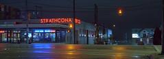 Strathcona Beer (Orion Alexis) Tags: film 35mm analog widescreen cinematic neon beer panorama vancouver brewery night urban kodak portra 400 fujifilm tx1 xpan